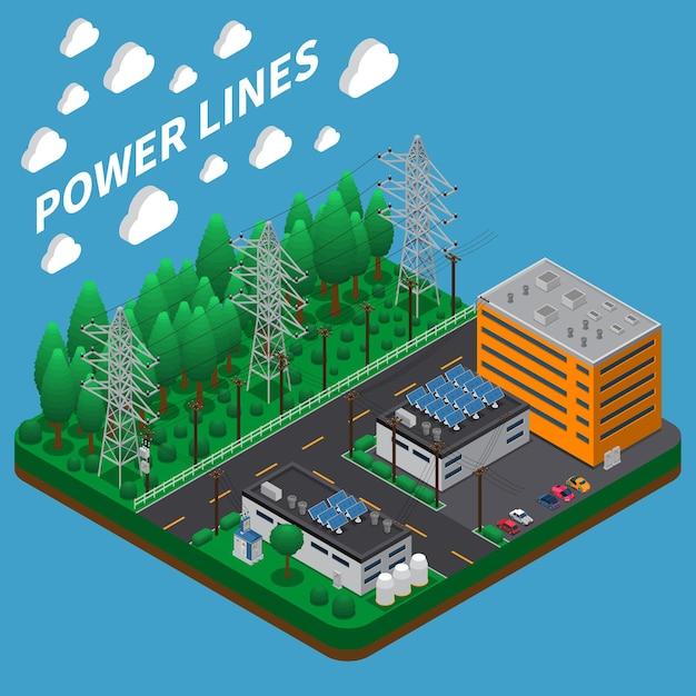 Composizione isometrica di trasmissione di energia elettrica con linea aerea alta tensione su grandi torri metalliche alte Vettore gratuito
