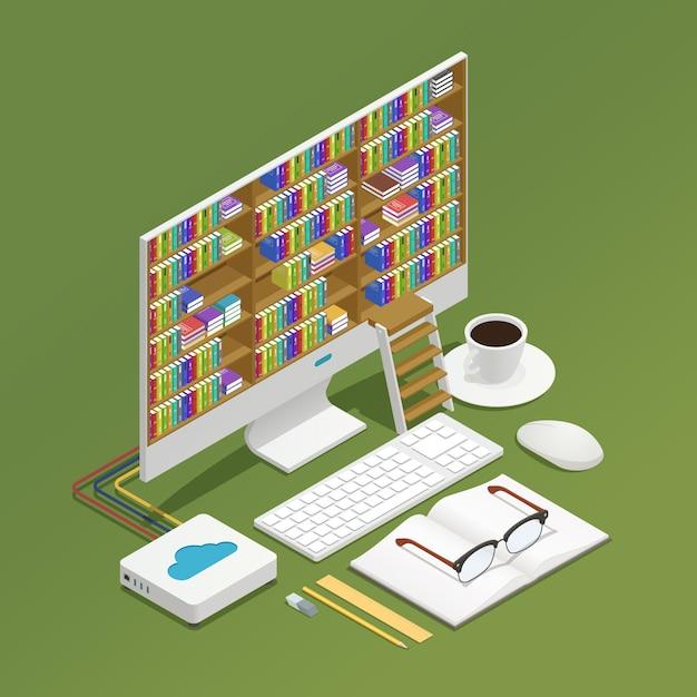 Composizione isometrica e-learning Vettore gratuito