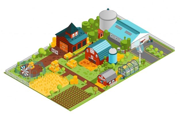 Composizione isometrica fattoria rurale Vettore gratuito