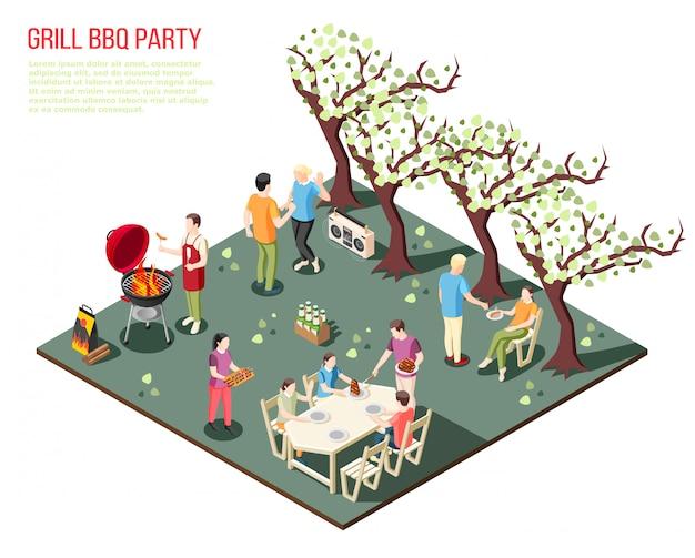 Composizione isometrica griglia barbecue party con grandi familiari che riposano all'aperto con descrizione del testo modificabile Vettore gratuito