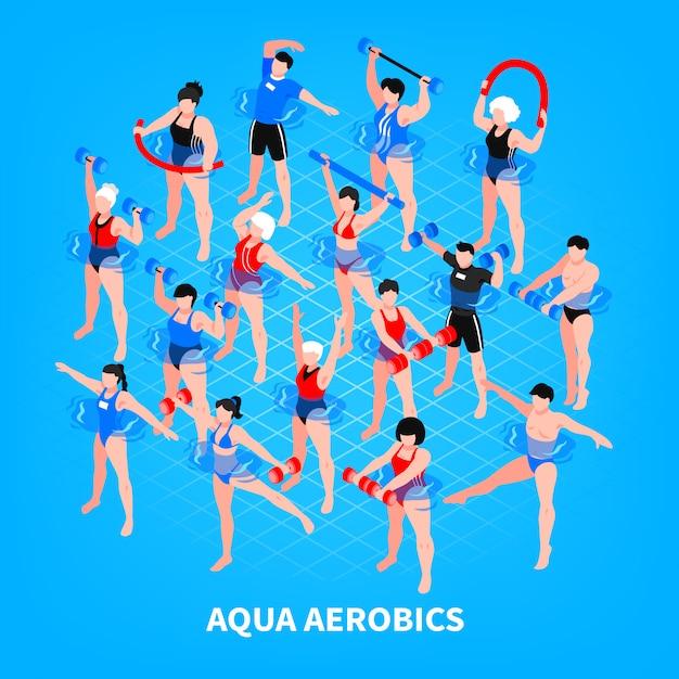 Composizione isometrica in aerobica in acqua su uomini e donne blu con attrezzatura sportiva durante l'illustrazione di addestramento Vettore gratuito