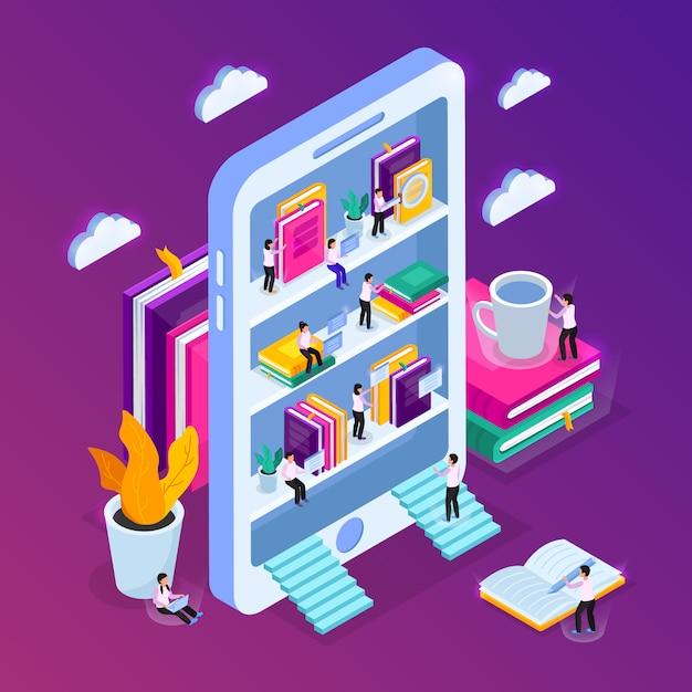 Composizione isometrica in biblioteca online con immagine di smartphone con scaffali e piccole persone con nuvole Vettore gratuito