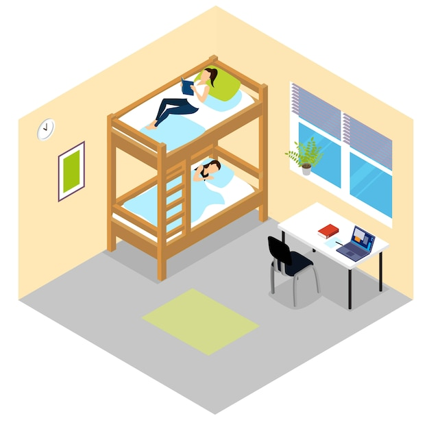 Composizione isometrica in camera per studenti Vettore gratuito