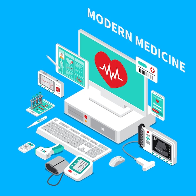 Composizione isometrica in gadget medici Vettore gratuito