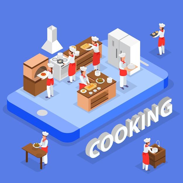 Composizione isometrica in ordine di alimento con il personale italiano del ristorante che cucina nell'illustrazione di vettore della cucina 3d Vettore gratuito
