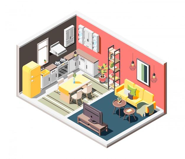 Composizione isometrica interna a soppalco con panoramica di accogliente monolocale diviso in cucina e zone giorno Vettore gratuito