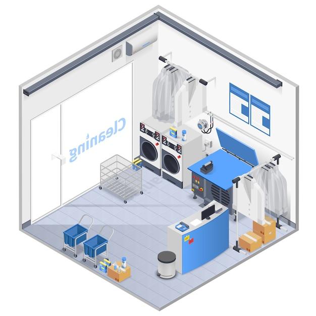 Composizione isometrica interna della lavanderia Vettore gratuito