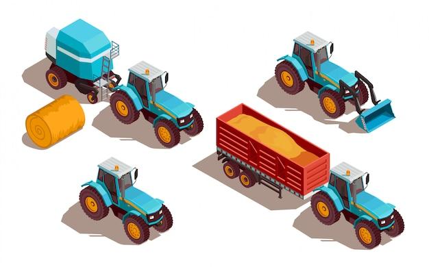 Composizione isometrica macchine agricole Vettore gratuito