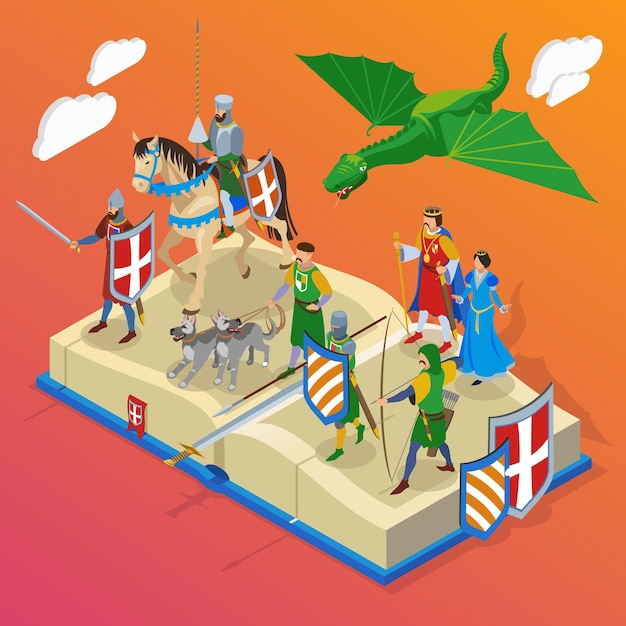 Composizione isometrica medievale con piccoli personaggi personaggi di cavalieri guerrieri freddi e draghi con grande libro Vettore gratuito