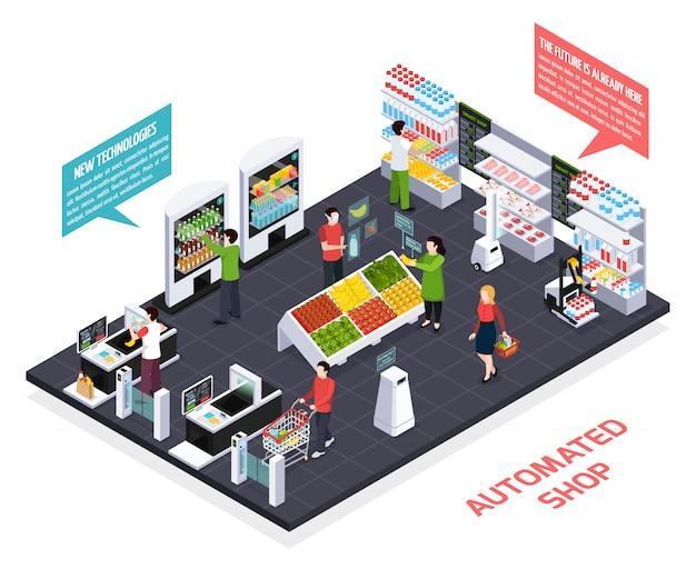 Composizione isometrica negozio automatizzato Vettore gratuito