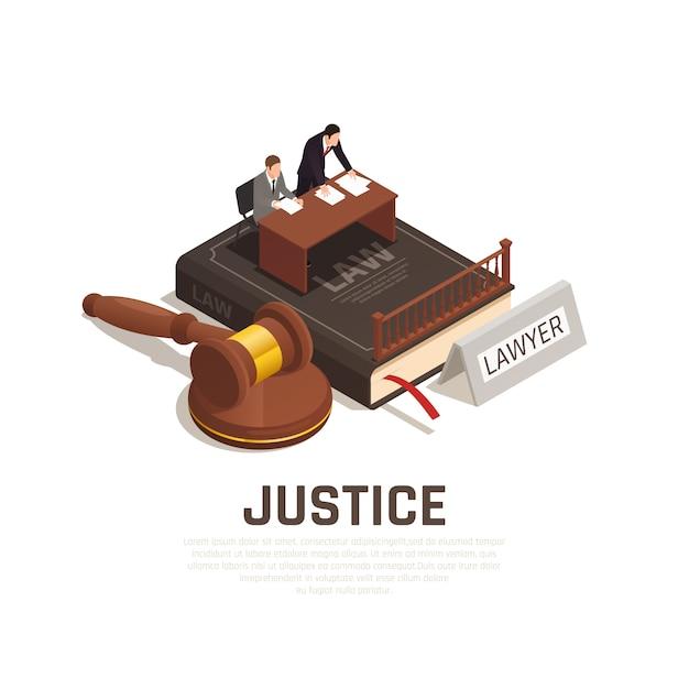 Composizione isometrica nei procedimenti giudiziari della giustizia sul libro di codice civile con il martello dell'imputato dell'avvocato della difesa Vettore gratuito