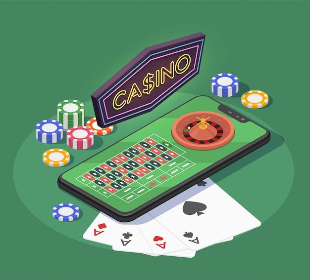 Composizione isometrica nel casinò online con le carte e i chip dello smartphone per i giochi di gioco su fondo verde 3d Vettore gratuito