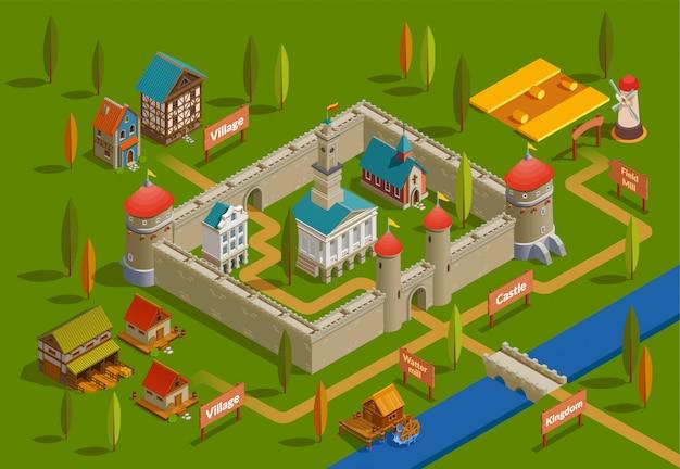 Composizione isometrica nel castello medievale Vettore gratuito