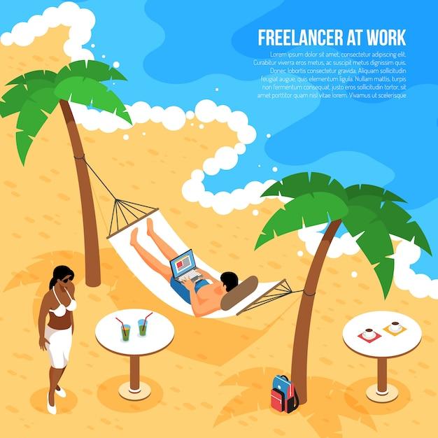 Composizione isometrica nel lavoro a distanza con le free lance alla spiaggia tropicale in amaca con il taccuino all'illustrazione di vettore del lavoro Vettore gratuito