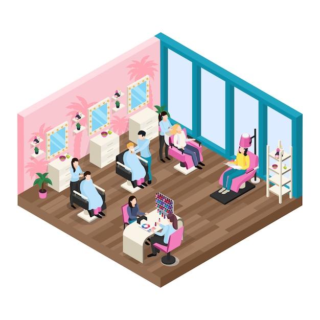 Composizione isometrica nel salone di bellezza Vettore gratuito