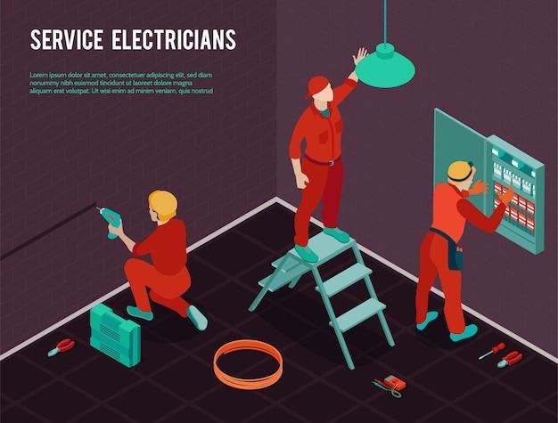 Composizione isometrica nel servizio di manutenzione di rinnovamento della costruzione dell'ufficio degli elettricisti con la squadra degli operai che installa il quadro di comando Vettore gratuito