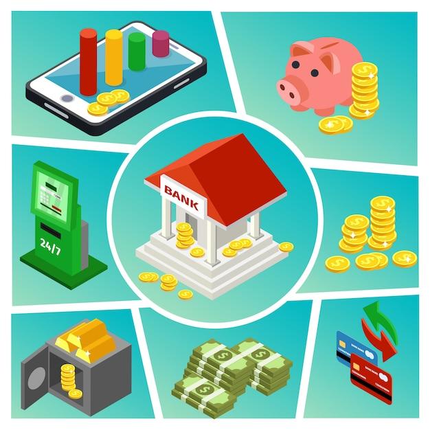 Composizione isometrica nel settore bancario e finanziario con pagamenti online che costruiscono monete bancomat monete d'oro carte di credito bancomat macchina Vettore gratuito