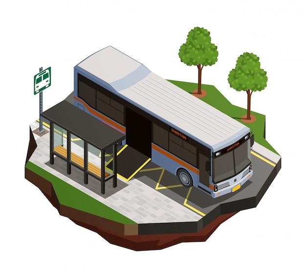 Composizione isometrica nel trasporto pubblico della città con la vista della fermata dell'autobus e del bus municipale con l'illustrazione della rampa della sedia a rotelle Vettore gratuito