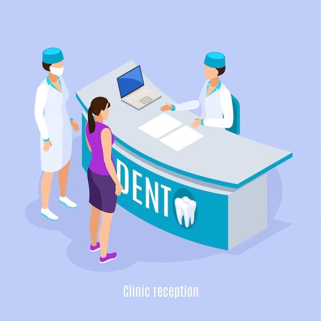 Composizione isometrica nell'area di ricezione della clinica dentale con il paziente e l'assistente che prendono appuntamento fondo blu-chiaro Vettore gratuito