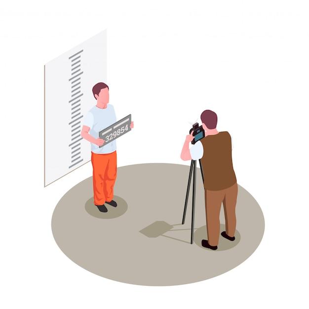Composizione isometrica nella prigione della prigione con la presa della fotografia della polizia del colpo di tazza di vista frontale dell'illustrazione criminale arrestata Vettore gratuito