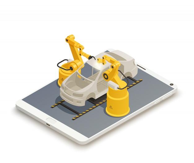 Composizione isometrica nella produzione industriale intelligente. Vettore gratuito