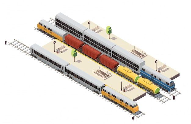Composizione isometrica nella stazione ferroviaria con il treno merci dell'entrata della scala del tunnel delle piattaforme passeggeri e l'illustrazione del doppio ponte Vettore gratuito