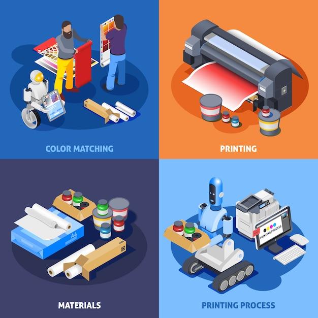 Composizione isometrica stampa a colori Vettore gratuito