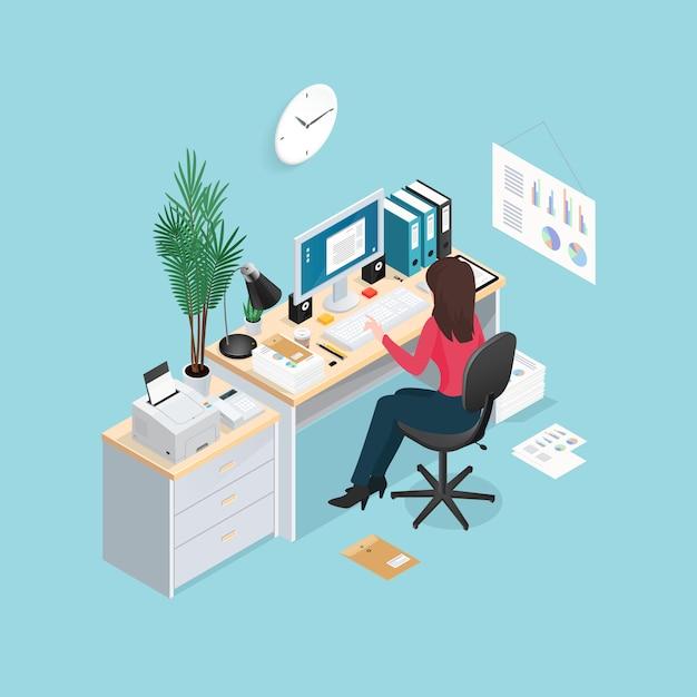 Composizione isometrica sul posto di lavoro di ufficio Vettore gratuito
