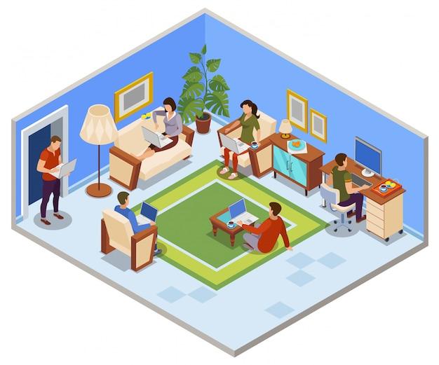 Composizione isometrica tipica giornata freelance con persone che condividono lo spazio di lavoro nell'appartamento accogliente soggiorno Vettore gratuito