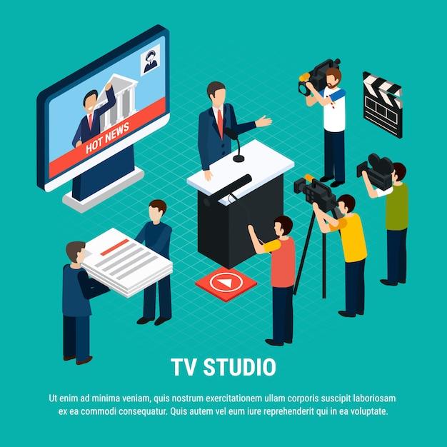 Composizione isometrica video foto con testo modificabile e personaggi umani di lavoratori professionisti dello studio televisivo Vettore gratuito