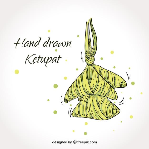 Composizione ketupat disegnata a mano tradizionale Vettore gratuito