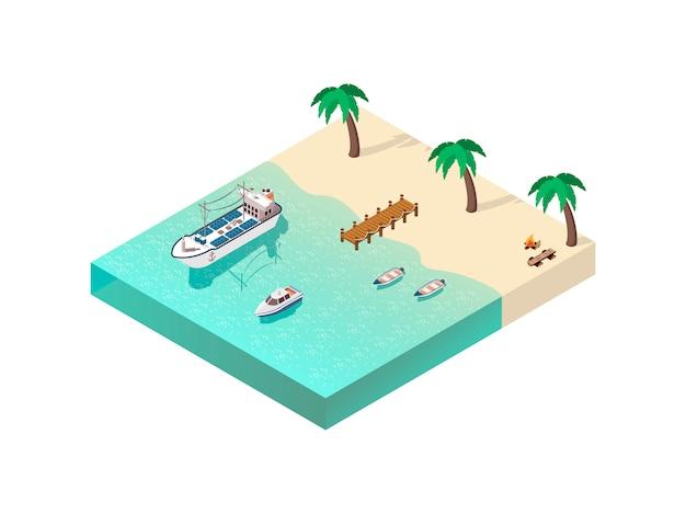 Composizione linea costiera isometrica Vettore gratuito