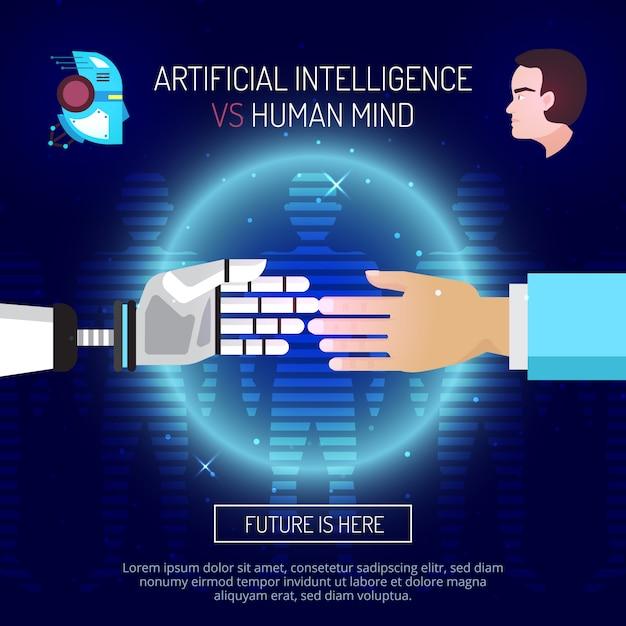 Composizione mentale di intelligenza artificiale con robot e mani umane allungate l'una all'altra Vettore gratuito