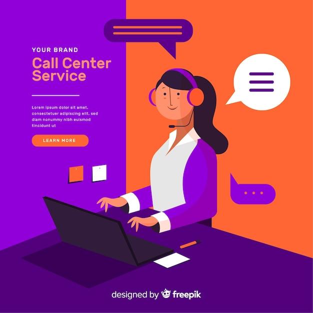 Composizione moderna call center Vettore gratuito