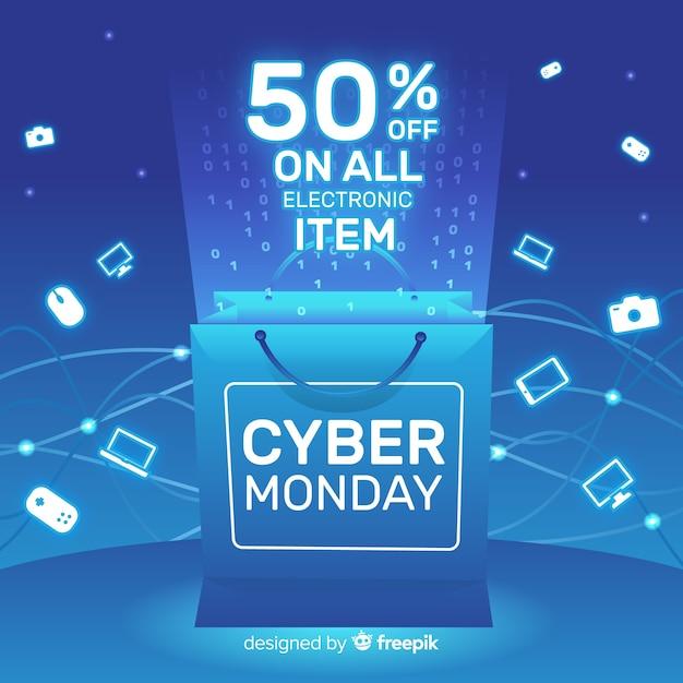 Composizione moderna di cyber-lunedì con design piatto Vettore gratuito