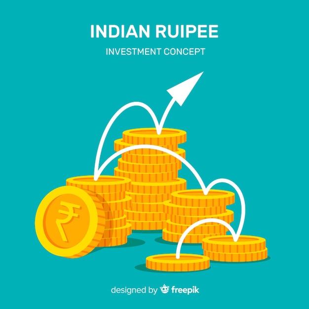 Composizione moderna di rupie indiane Vettore gratuito
