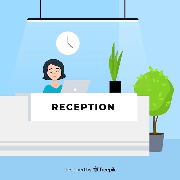 Composizione moderna reception con design piatto Vettore gratuito