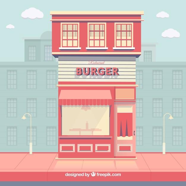 Composizione moderna ristorante hamburger Vettore gratuito