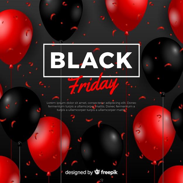 Composizione moderna venerdì nero con palloncini realistici Vettore gratuito