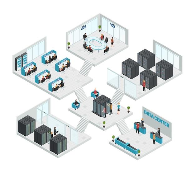 Composizione multistore di sei sale per data center isometriche Vettore gratuito