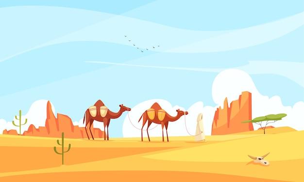 Composizione nel deserto del treno del cammello Vettore gratuito
