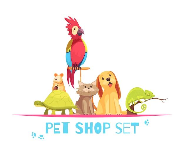 Composizione nel negozio di animali Vettore gratuito