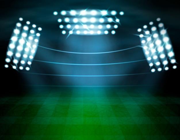 Composizione nell'illuminazione dello stadio di football americano Vettore gratuito