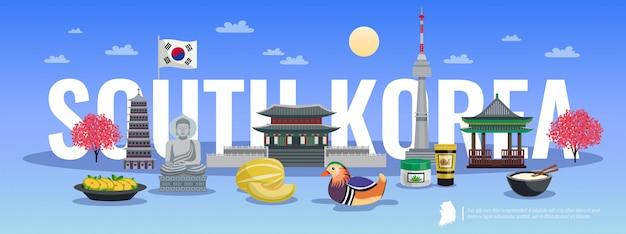 Composizione orizzontale in turismo della corea del sud con le immagini di stile di scarabocchio delle viste culturali degli oggetti tradizionali e l'illustrazione del testo Vettore gratuito