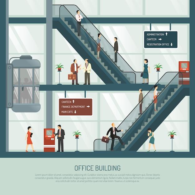 Composizione piana di edificio per uffici Vettore gratuito