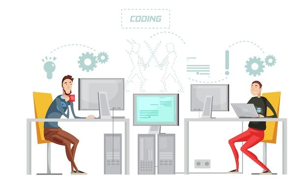 Composizione piana di sviluppo colorato del gioco con il processo di lavoro di codifica all'illustrazione di vettore dell'ufficio Vettore Premium