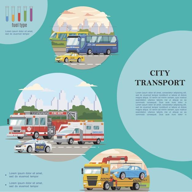 Composizione piana di trasporto pubblico in città con autobus taxi polizia ambulanza auto tram camion antincendio e rimorchi Vettore gratuito