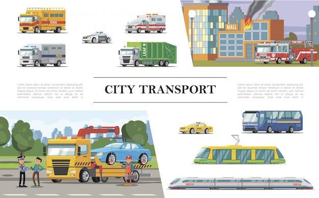 Composizione piana in trasporto della città con il camion dei vigili del fuoco vicino alle costruzioni brucianti ambulanza polizia taxi automobili tram autobus passeggeri treno servizio di assistenza stradale Vettore gratuito