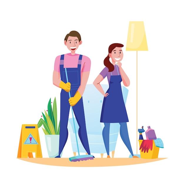 Composizione piana negli accessori di doveri del gruppo professionale di servizio di pulizia con la donna dell'uomo nell'illustrazione ampia uniforme del pavimento Vettore gratuito