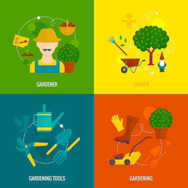 Composizione piana nelle icone del giardino vegetale Vettore gratuito